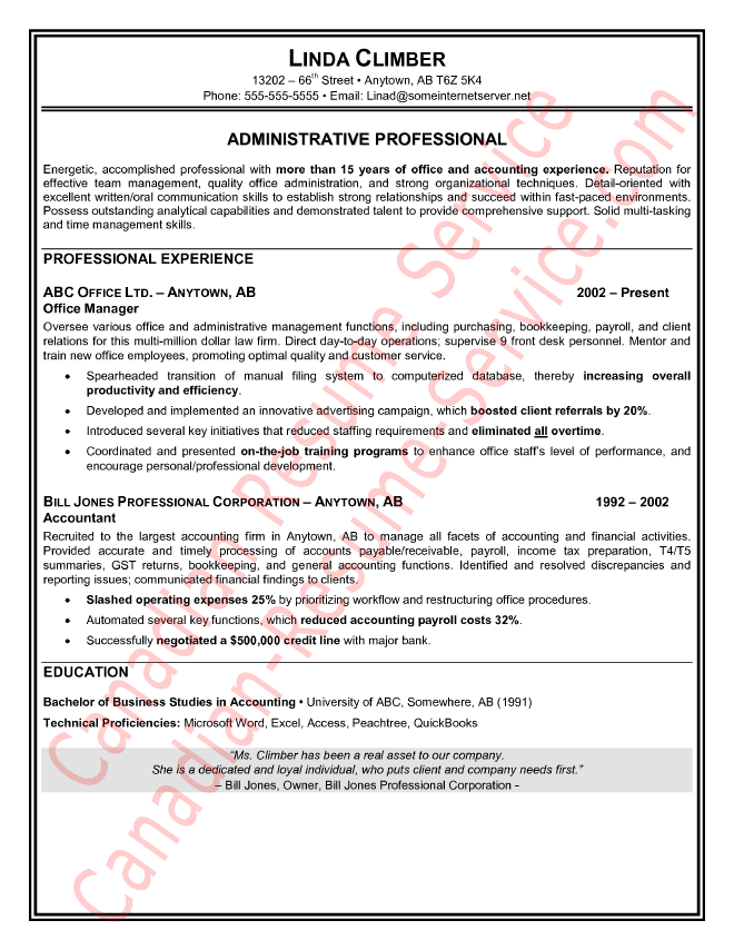 administrative assistant resume sample example