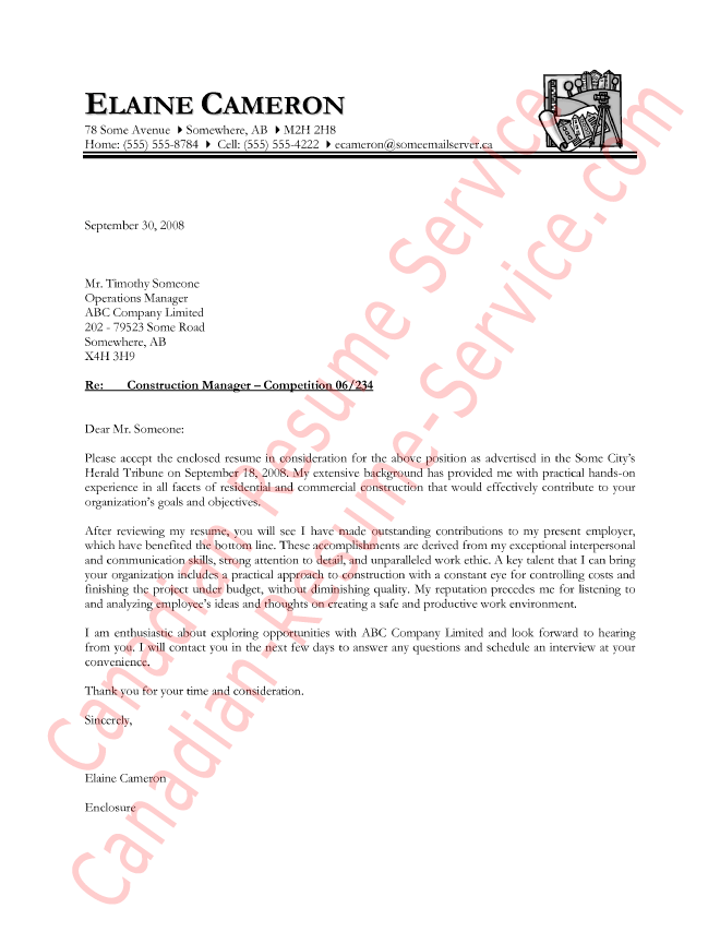 construction manager letter of introduction sample - Construction Management Cover Letter Examples