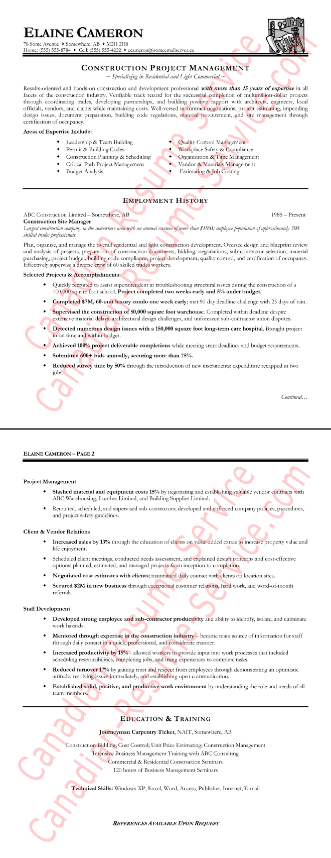 Of A Construction Manager Resume Sample
