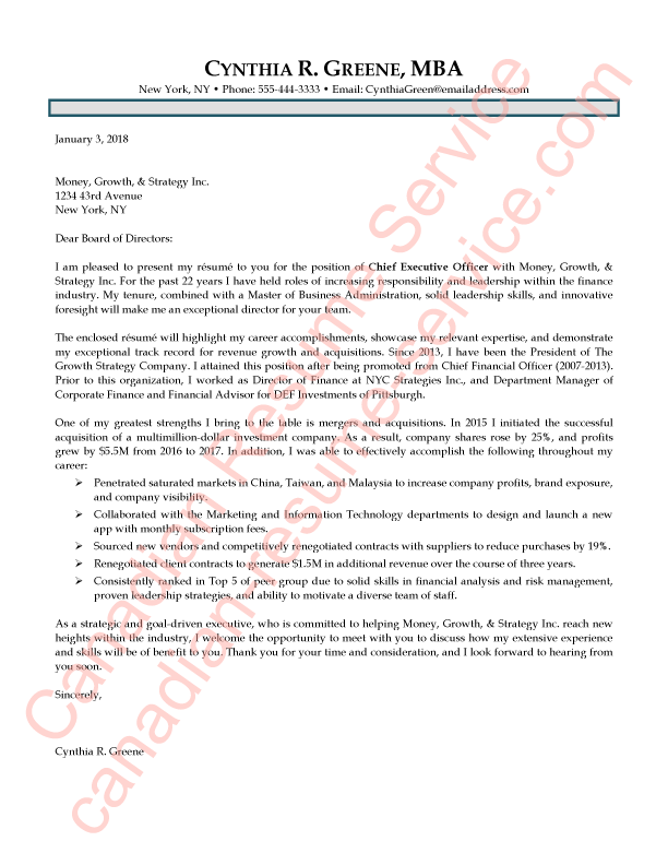 Executive CEO and President Cover Letter Sample by Certified Writer