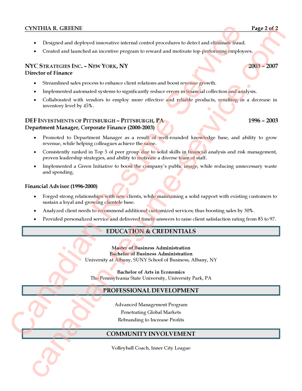 Executive CEO President Resume Sample 2 of 2