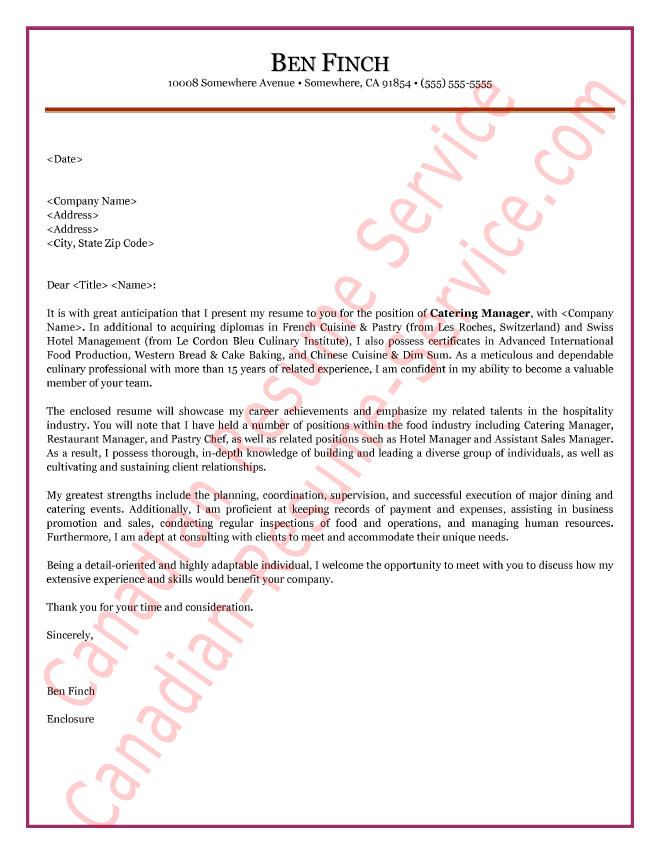hospitality manager cover letter sample - Leadership Cover Letter Sample