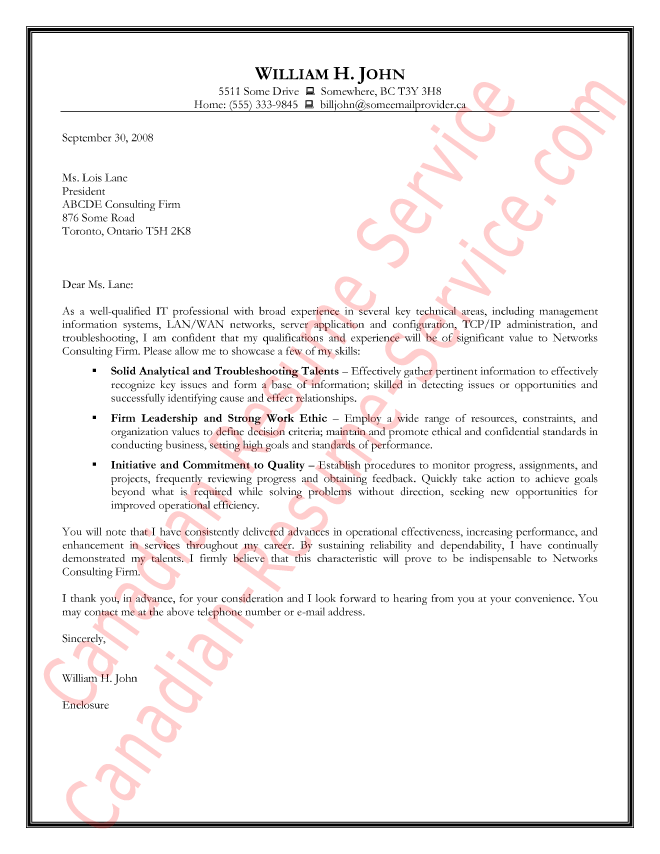 Information Technology Cover Letter Example - Sample