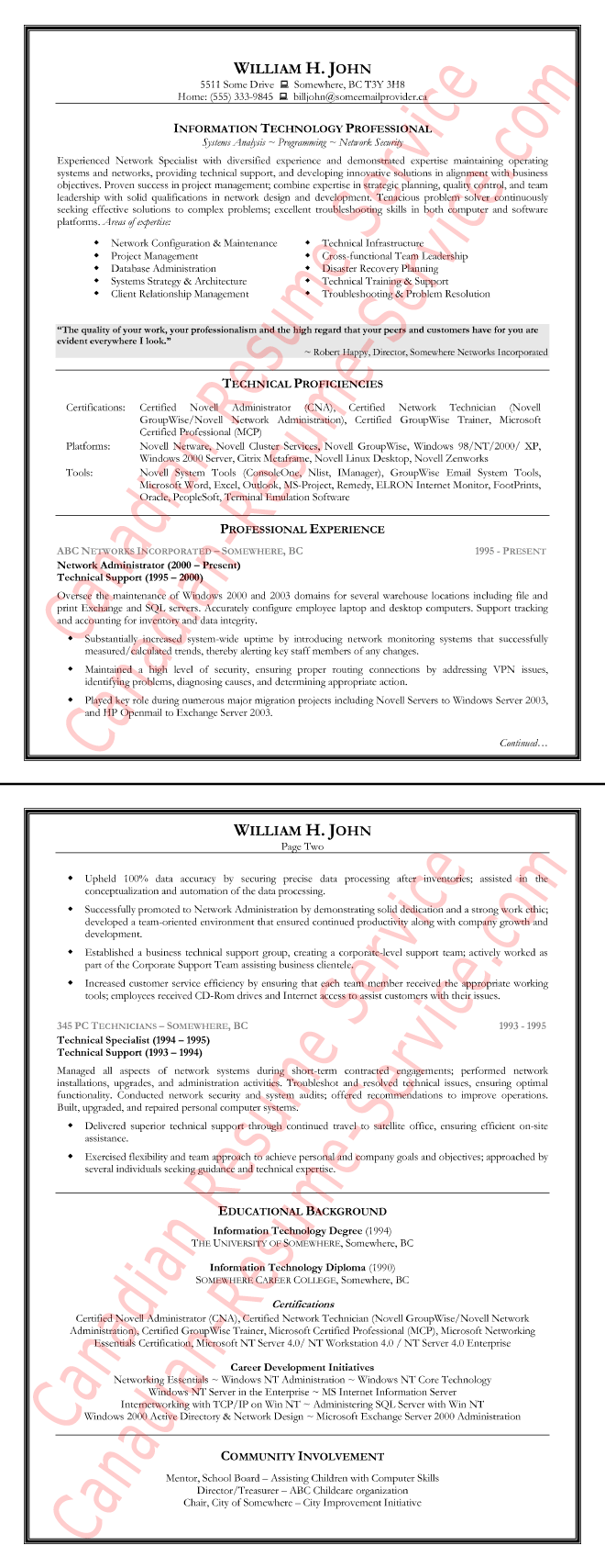 Canadian Resume Writing Service  Information Technology Resume