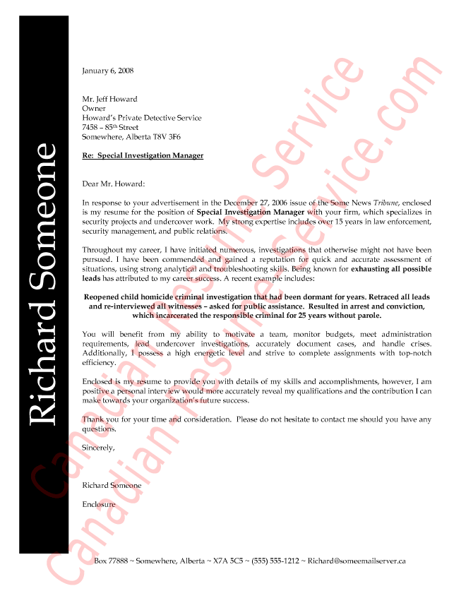 Law Enforcement Professional Cover Letter Example - Sample