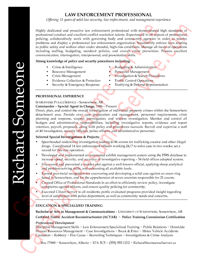 Law Enforcement Professional Resume Sample Or Example  Sample Police Resume