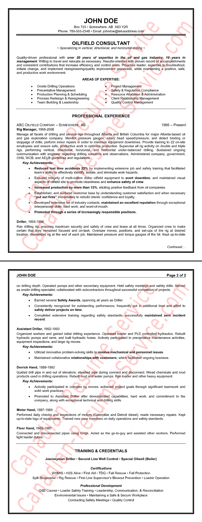 Example of a Oilfield Consultant Resume Sample – Oilfield Resume