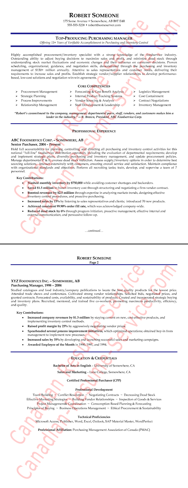 Purchasing Manager Resume Example  Procurement Executive Sample
