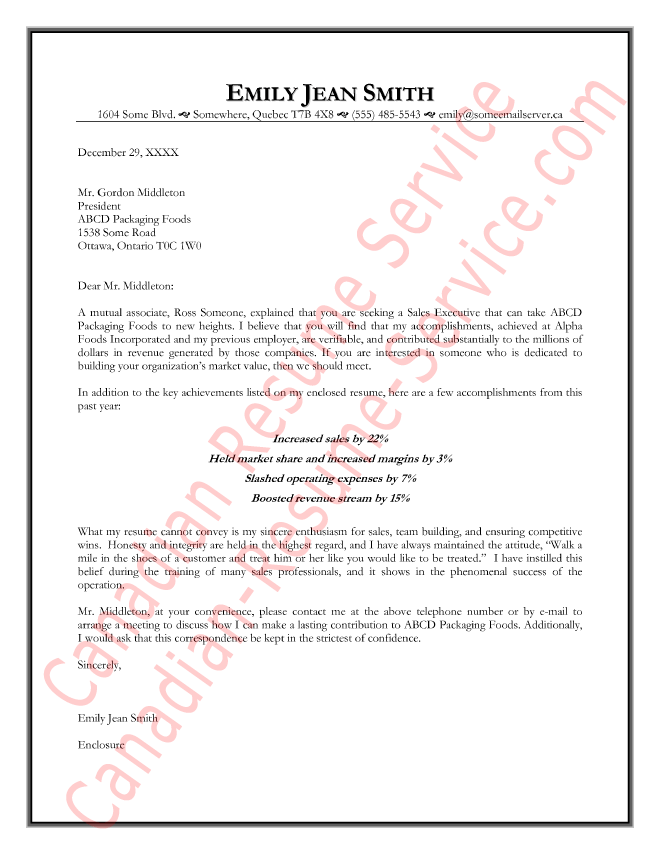 Executive Cover Letter Example - Management Sample