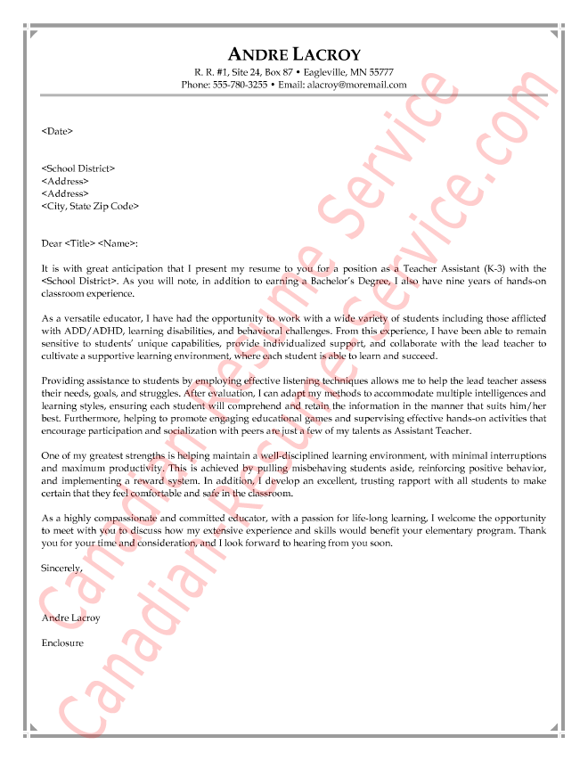 teacher assistant letter of introduction - Teacher Assistant Cover Letter Examples