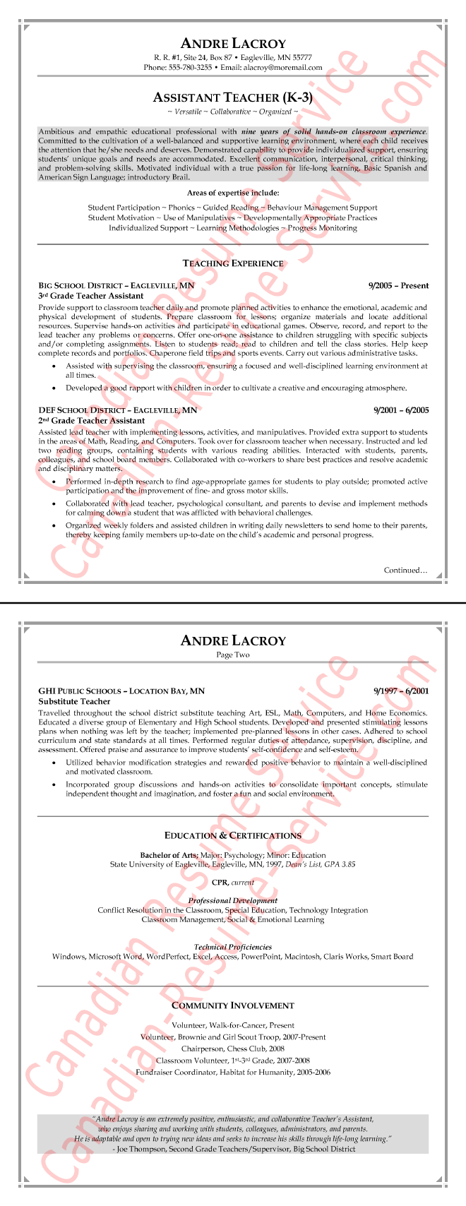 teaching assistant resume example sample - Canadian Format Resume