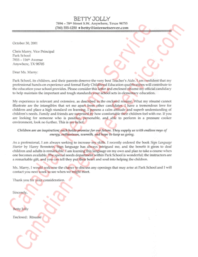 teachers aide cover letter sampleexample - Cover Letter For Teacher Resume
