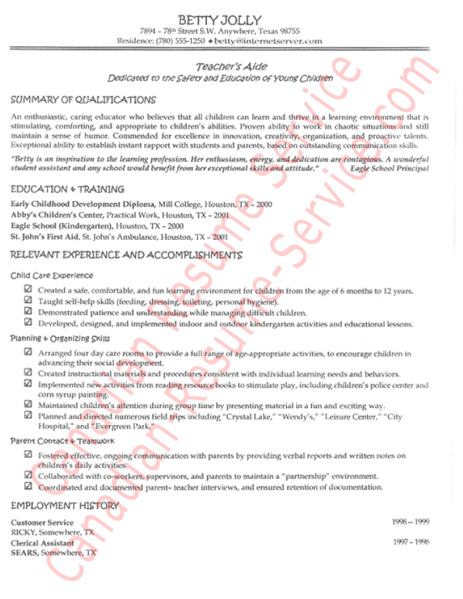Teacher's Aide Resume Example - Sample