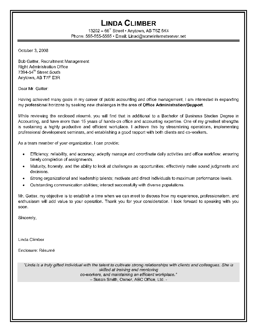 Administrative Assistant Cover Letter Canadian Resume