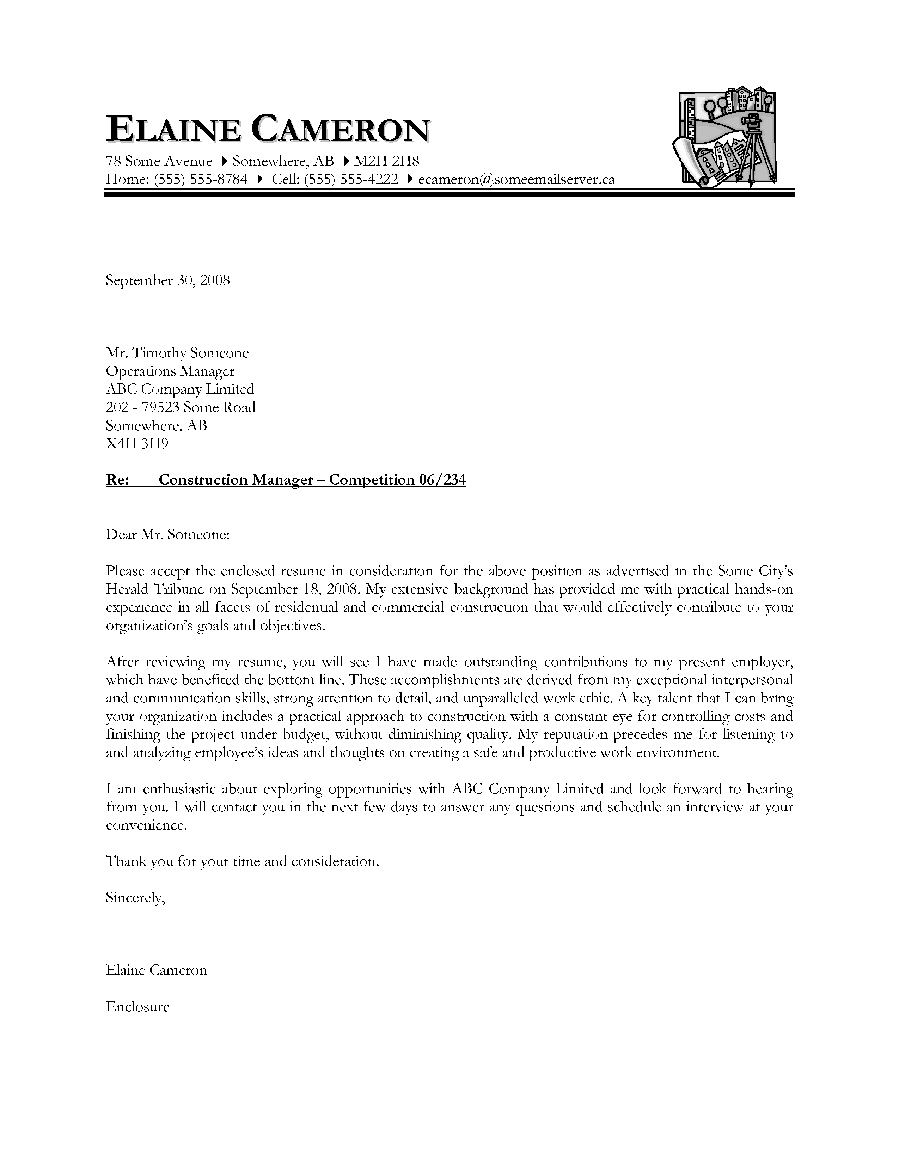 construction manager letter of introduction - Sample It Manager Cover Letter