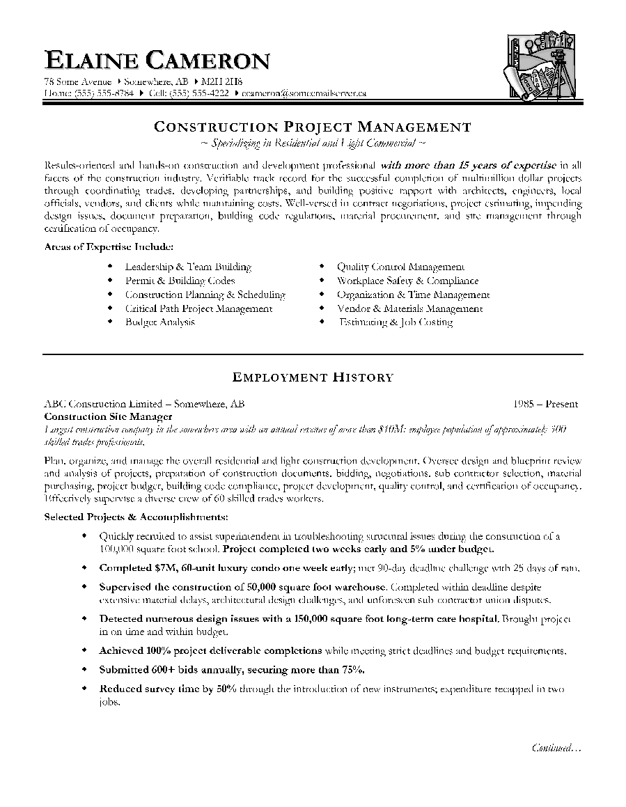 28+ [ Resume Sample Of Construction Manager ] | Construction ...