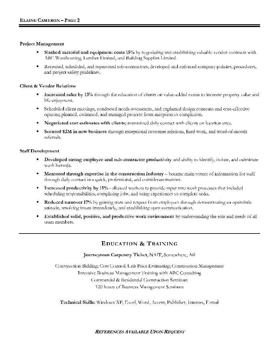 construction resume sample hotel manager resume sample
