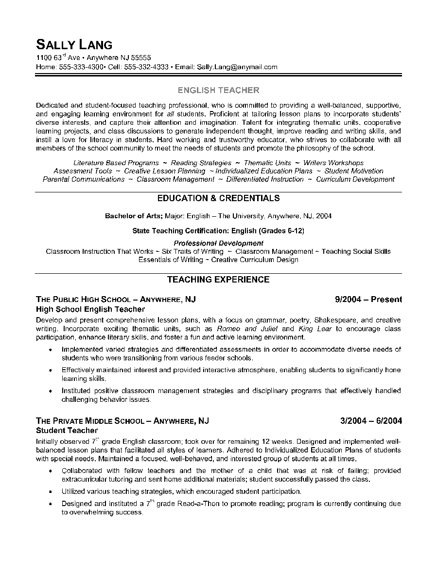 english teacher resume example