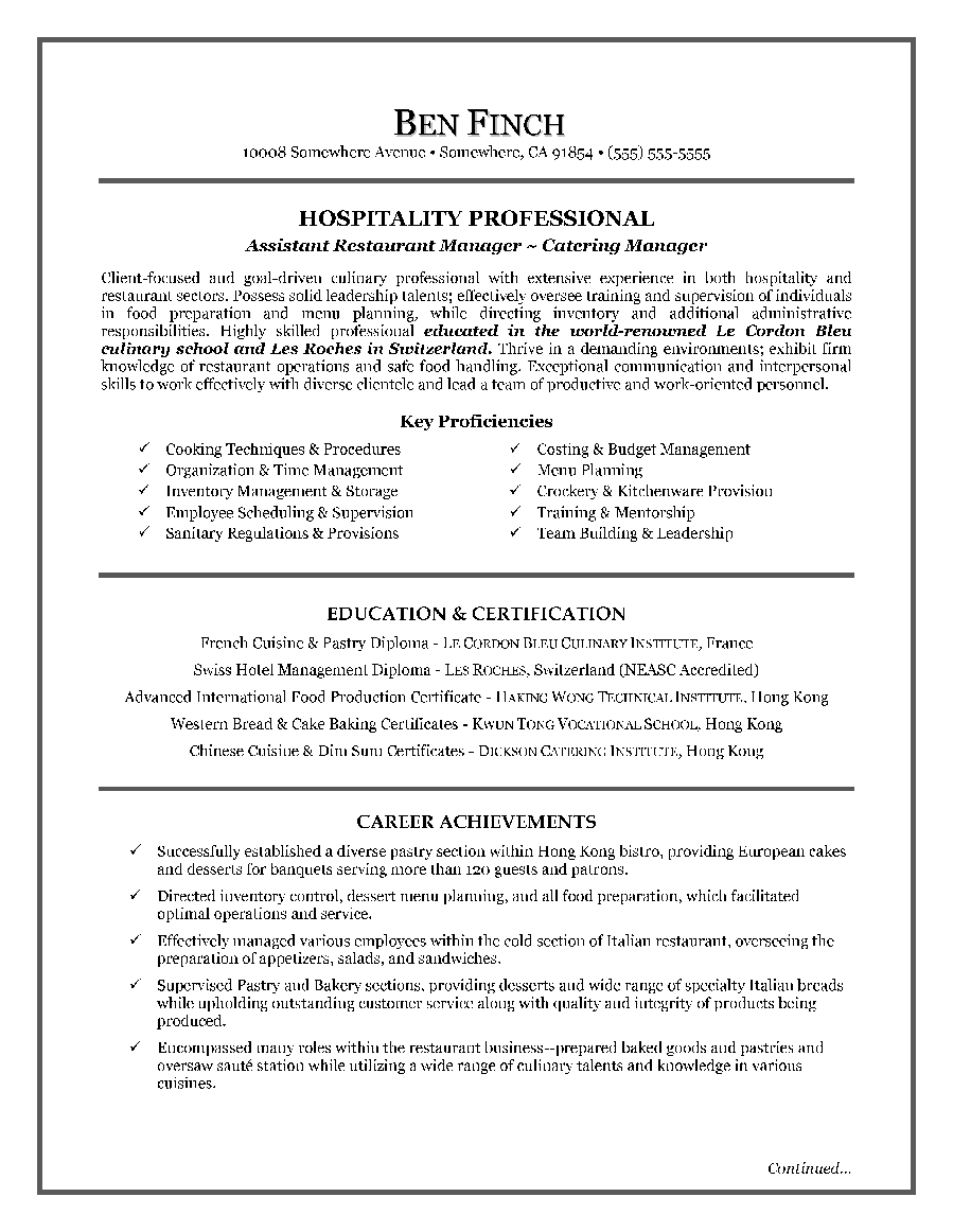 Hospitality Resume Template Free Idea