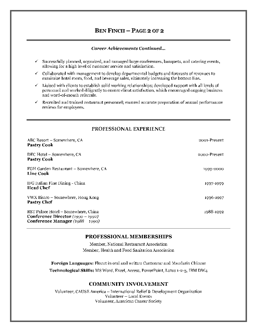Resume Sample Canada free chronological resume template – Hospitality Resume