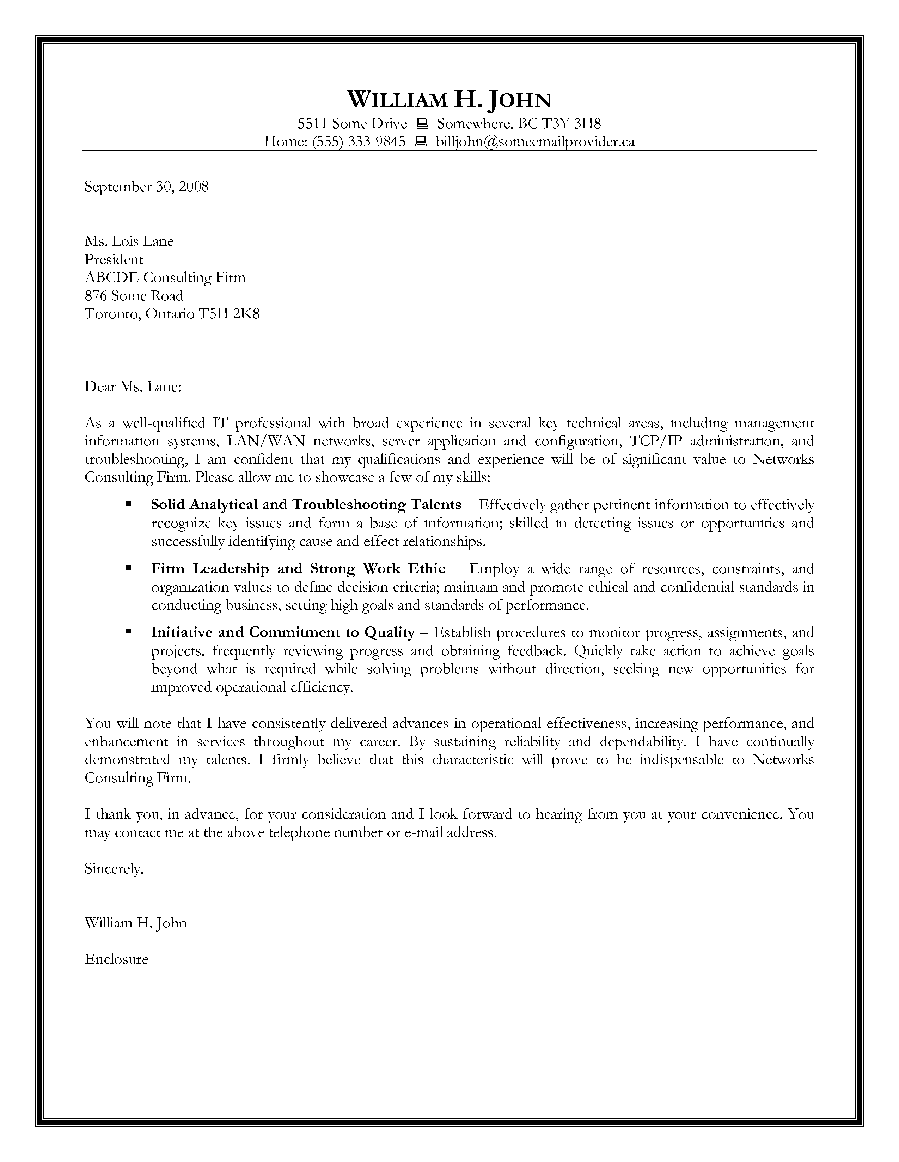 Sample Cover Letter Information Technology Cover Letter Design