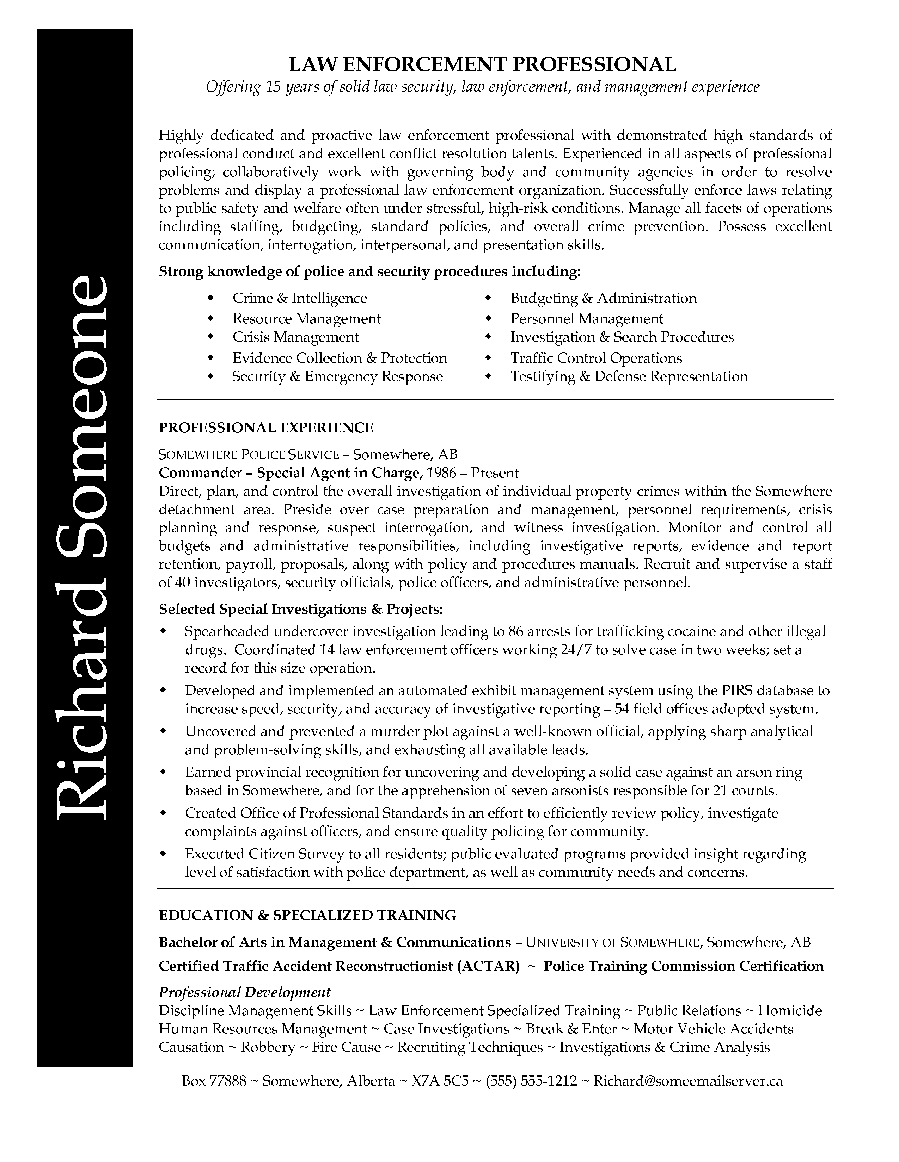 resume for law enforcement law enforcement professional resume resume for law enforcement 3401