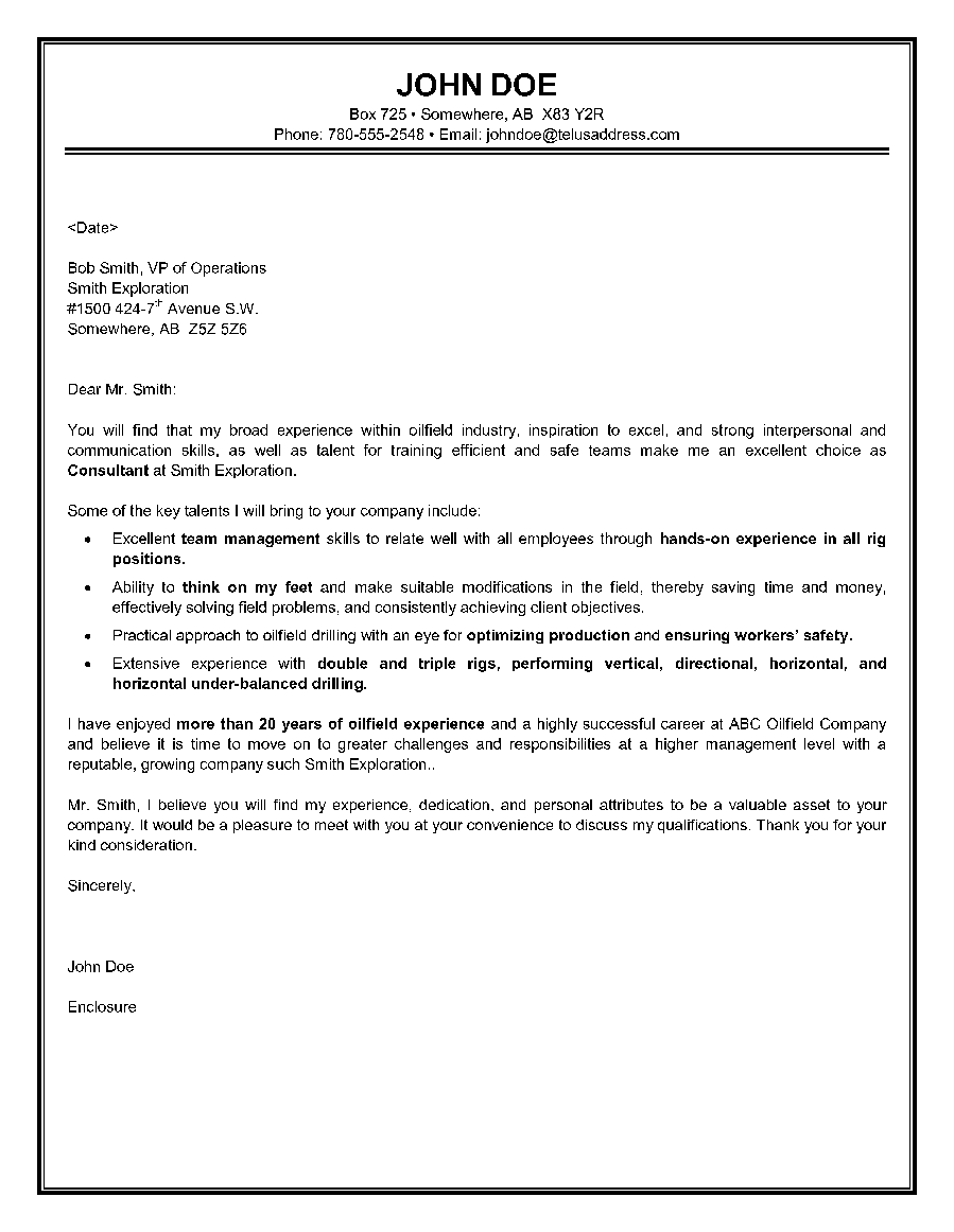 sample consulting cover letter