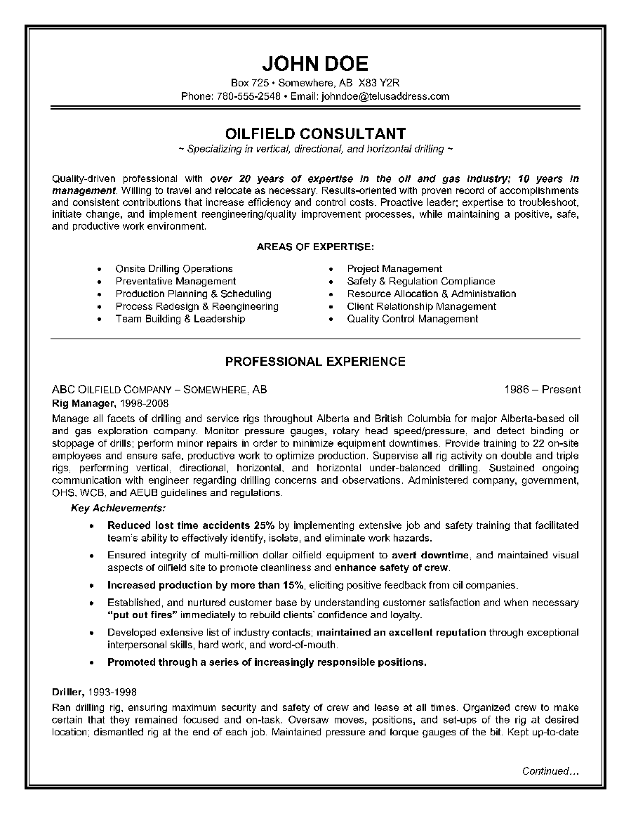 Example of an Oilfield Consultant Resume Sample
