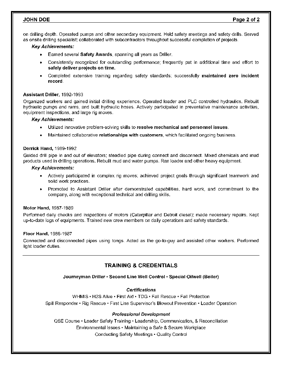 Resume For Oilfield Job
