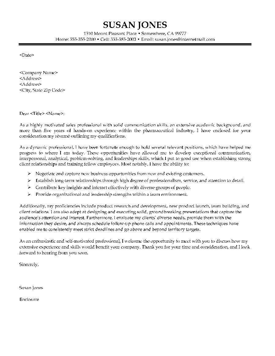 pharmaceutical sales cover letter sample - Sample Pharmaceutical Sales Resume Cover Letter