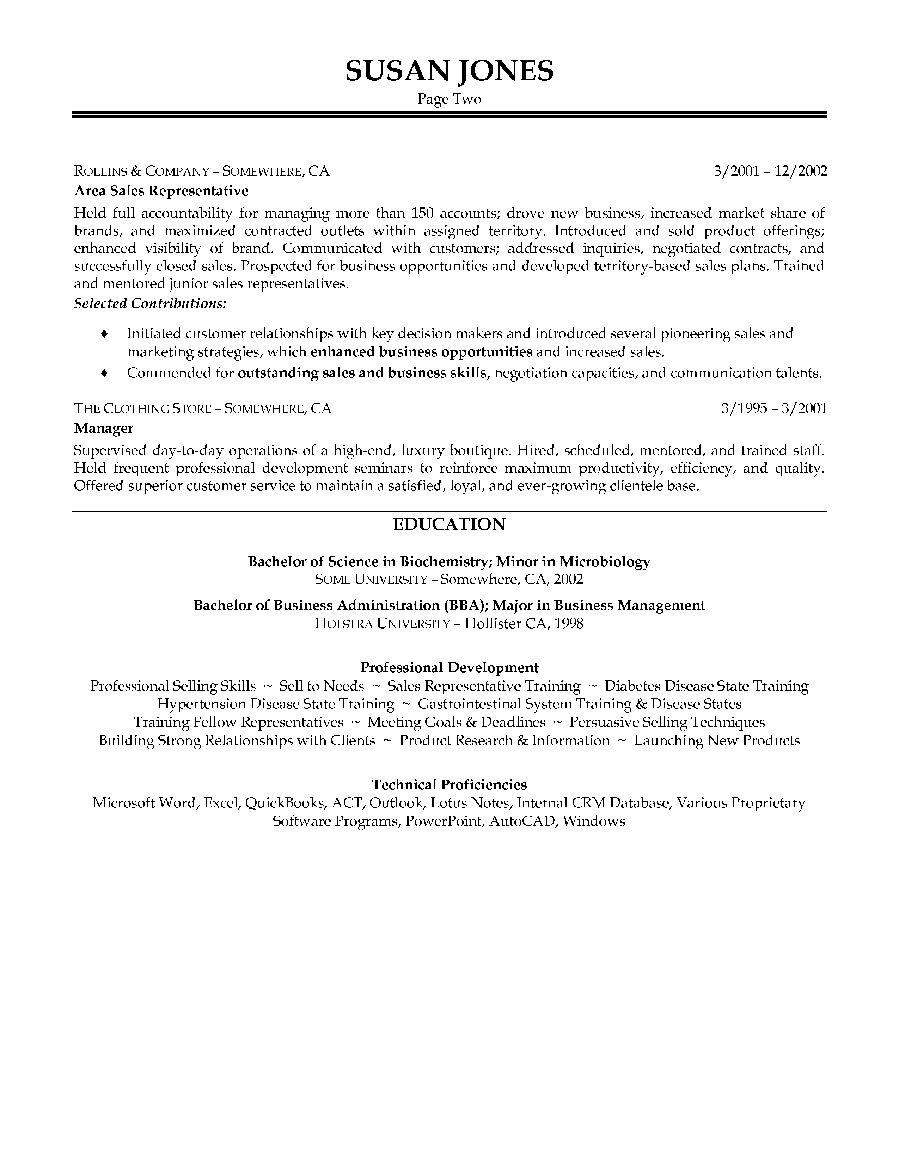 pharmaceutical sales resume sample page 2
