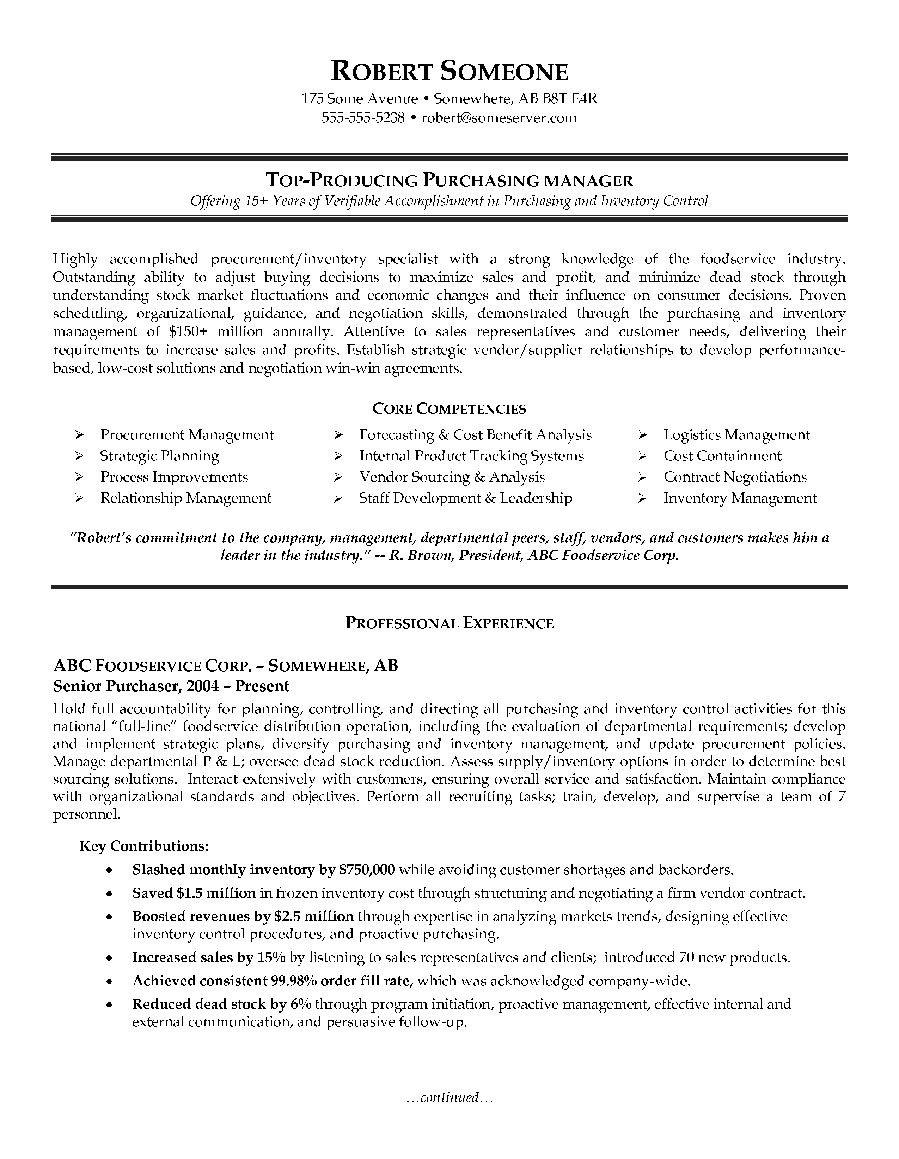 Purchasing Manager Resume Example   Page1  Sourcing Manager Resume