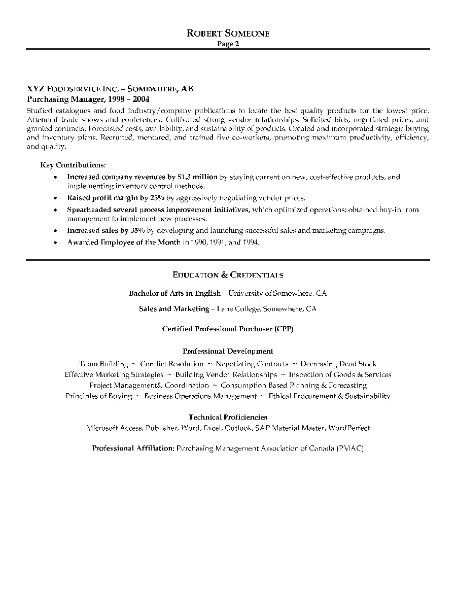 sample resume for purchasing agent - purchasing manager resume sample page 2 canadian resume