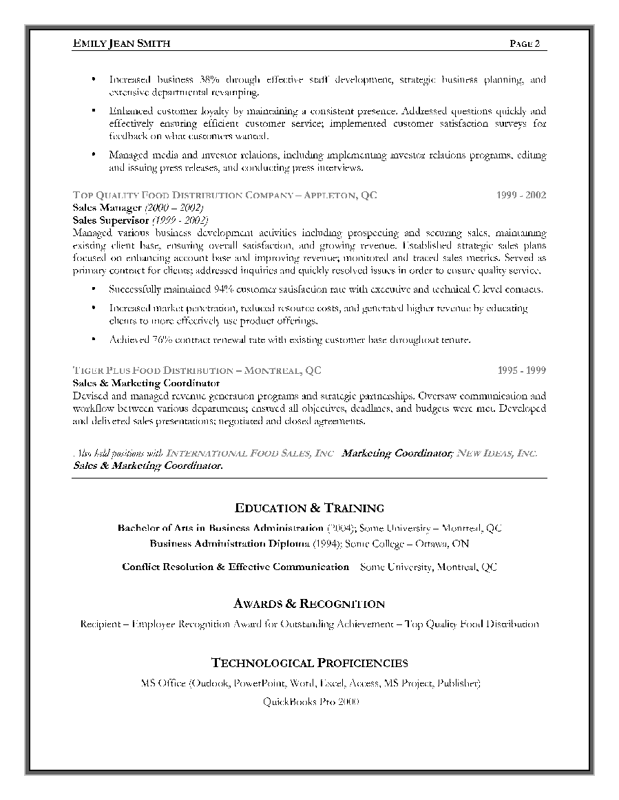 resume Resume Format Sales And Marketing sales marketing resume example page 2 canadian writing service 2