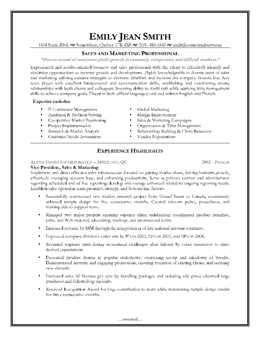 Sales Marketing Resume Sample Page 1 Canadian Resume Writing Service