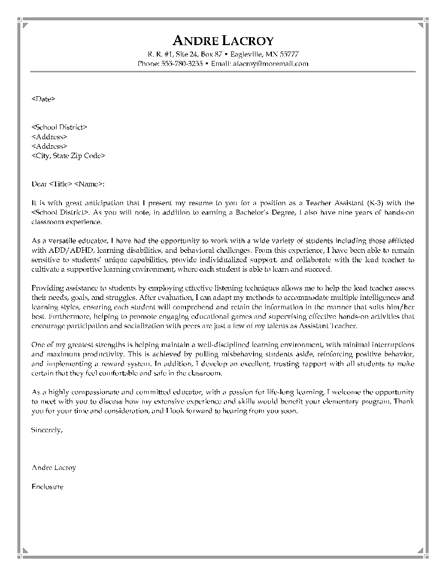 Best Letter Samples TEACHING COVER LETTER