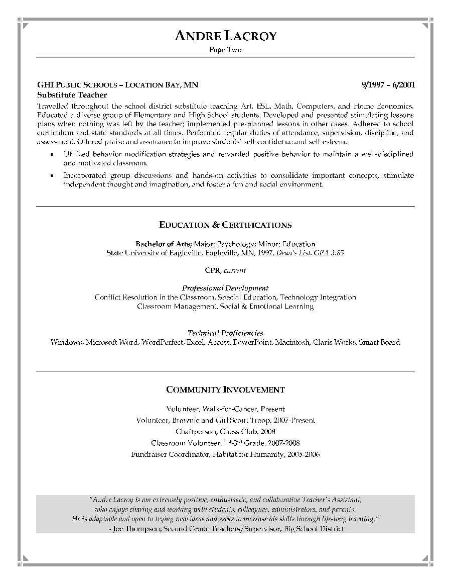 Teacher's Assistant Resume Sample - Page 2