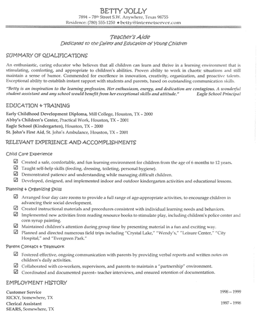 2017 sample resume for teacher assistant