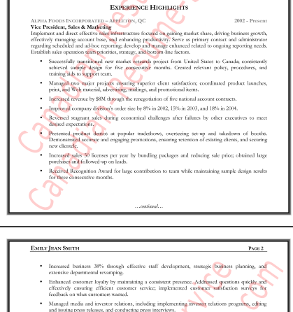 sales manager resume accomplishments canadian resume