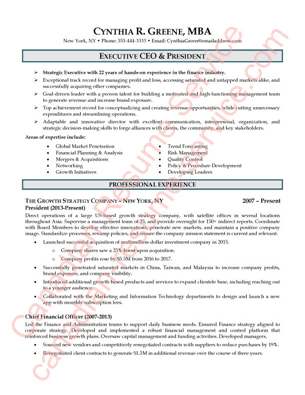Executive Ceo And President Resume Sample By Certified Writer